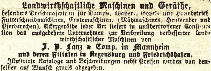 10 x Original-Werbung / Anzeigen 1868-1941 - LANDWIRTSCHAFTLICHE GERÄTE LANZ - MANNHEIM - UNTERSCHIEDLICHE GRÖSSEN