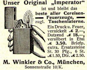 10 x Original-Werbung/ Anzeige 1909 bis 1925 - FEUERZEUGE - UNTERSCHIEDLICHE GRÖSSEN