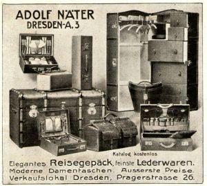 10 x Original-Werbung/ Anzeige 1907 bis 1914 - KOFFER / REISETASCHEN - UNTERSCHIEDLICHE GRÖSSEN
