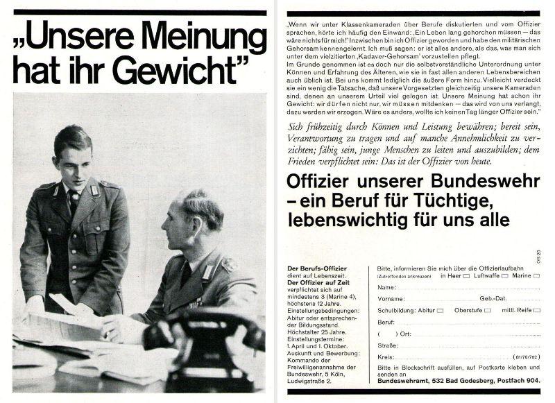 10 x Original-Werbung/ Anzeigen 1956 BIS 1969 - BUNDESWEHR - GANZE SEITEN  2