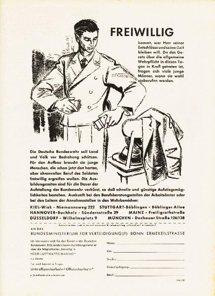 10 x Original-Werbung/ Anzeigen 1956 BIS 1969 - BUNDESWEHR - GANZE SEITEN  8