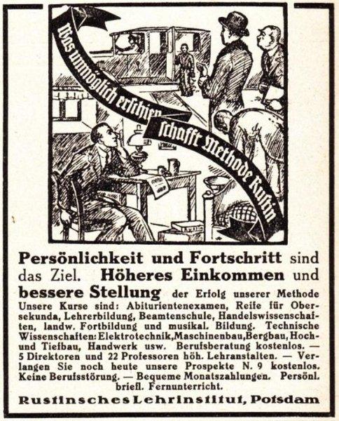 10 x Original-Werbung / Anzeigen 1913 BIS 1936 - RUSTIN''SCHES LEHRINSTITUT POTSDAM - verschiedene Größen 0
