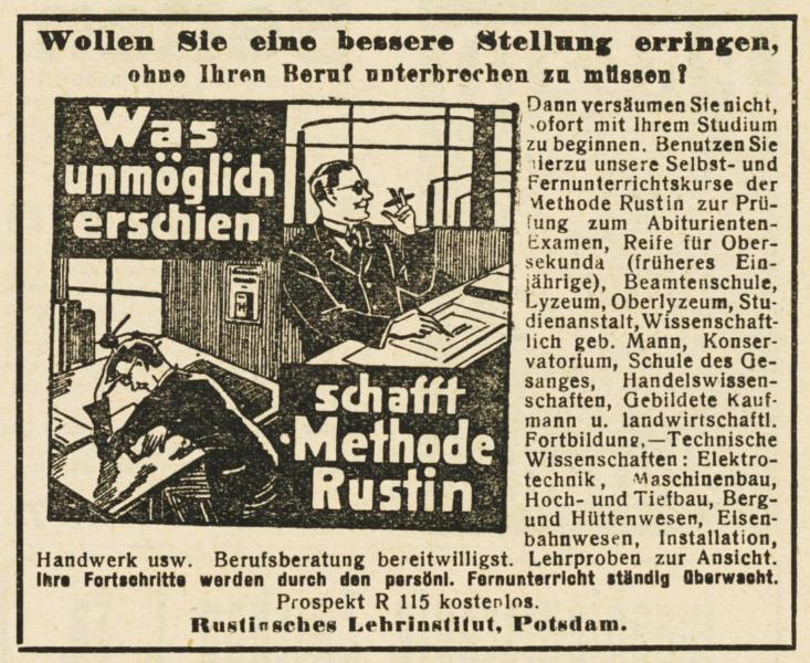 10 x Original-Werbung / Anzeigen 1913 BIS 1936 - RUSTIN''SCHES LEHRINSTITUT POTSDAM - verschiedene Größen 1