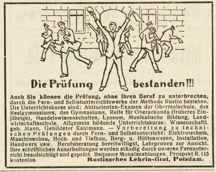 10 x Original-Werbung / Anzeigen 1913 BIS 1936 - RUSTIN''SCHES LEHRINSTITUT POTSDAM - verschiedene Größen 2