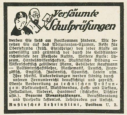 10 x Original-Werbung / Anzeigen 1913 BIS 1936 - RUSTIN''SCHES LEHRINSTITUT POTSDAM - verschiedene Größen 3