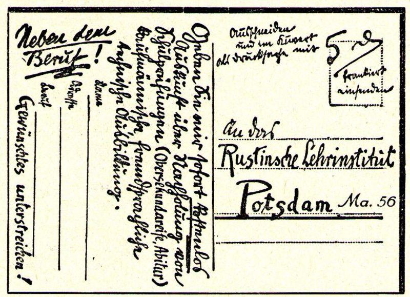 10 x Original-Werbung / Anzeigen 1913 BIS 1936 - RUSTIN''SCHES LEHRINSTITUT POTSDAM - verschiedene Größen 4