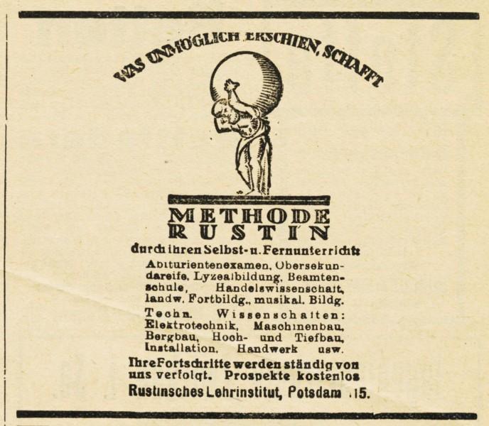 10 x Original-Werbung / Anzeigen 1913 BIS 1936 - RUSTIN''SCHES LEHRINSTITUT POTSDAM - verschiedene Größen 5