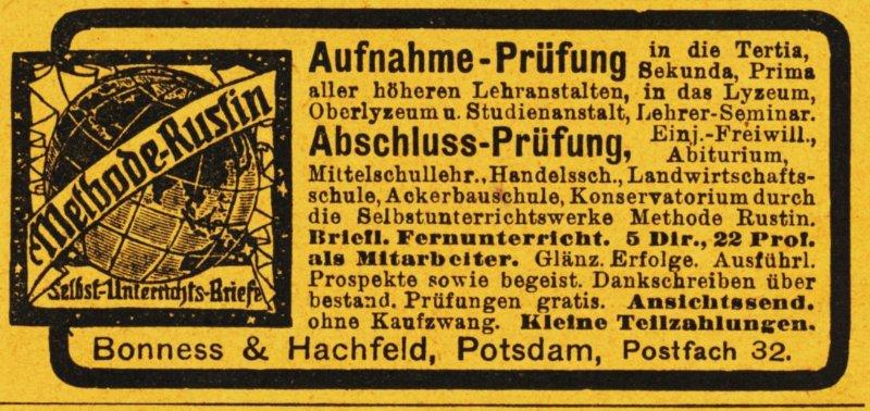 10 x Original-Werbung / Anzeigen 1913 BIS 1936 - RUSTIN''SCHES LEHRINSTITUT POTSDAM - verschiedene Größen 6