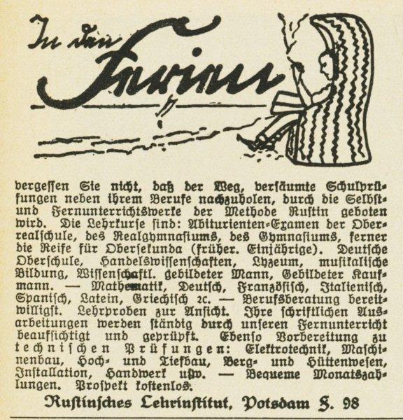 10 x Original-Werbung / Anzeigen 1913 BIS 1936 - RUSTIN''SCHES LEHRINSTITUT POTSDAM - verschiedene Größen 7