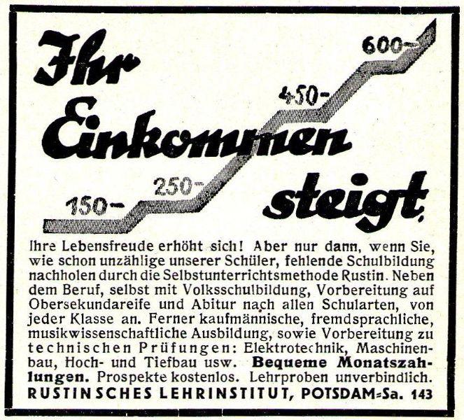 10 x Original-Werbung / Anzeigen 1913 BIS 1936 - RUSTIN''SCHES LEHRINSTITUT POTSDAM - verschiedene Größen 8