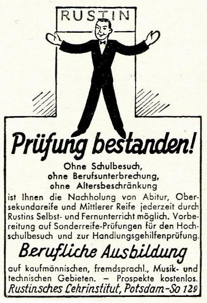 10 x Original-Werbung / Anzeigen 1913 BIS 1936 - RUSTIN''SCHES LEHRINSTITUT POTSDAM - verschiedene Größen 9