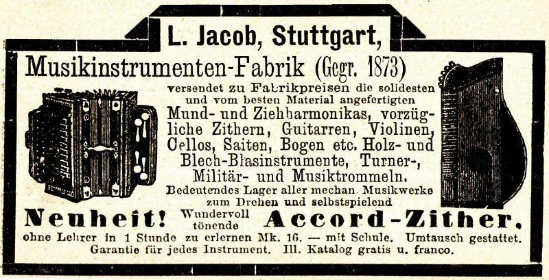 10 x Original-Werbung/ Anzeige 1890 bis 1931 - MUSIK /  MUSIKINSTRUMENTE AUS STUTTGART - UNTERSCHIEDLICHE GRÖSSEN 0