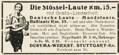 10 x Original-Werbung/ Anzeige 1890 bis 1931 - MUSIK /  MUSIKINSTRUMENTE AUS STUTTGART - UNTERSCHIEDLICHE GRÖSSEN 1