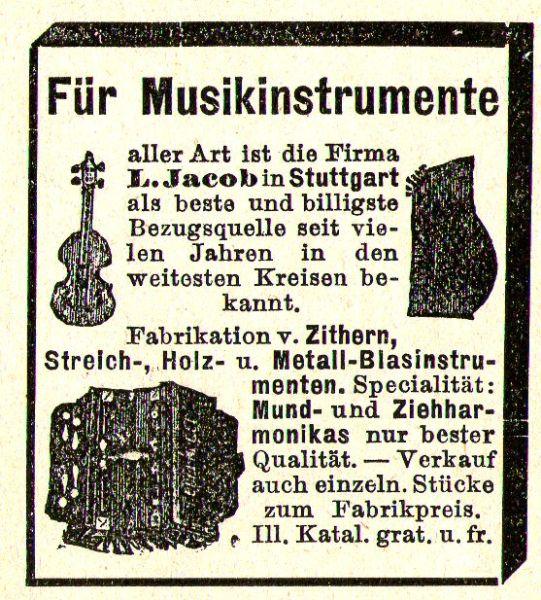 10 x Original-Werbung/ Anzeige 1890 bis 1931 - MUSIK /  MUSIKINSTRUMENTE AUS STUTTGART - UNTERSCHIEDLICHE GRÖSSEN 3