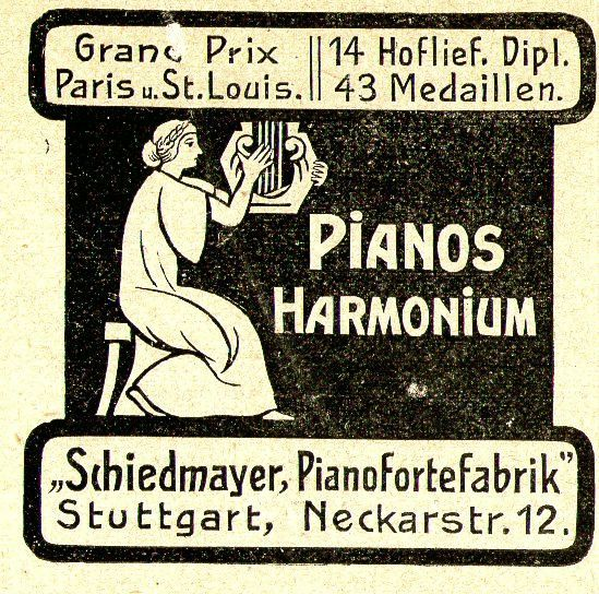 10 x Original-Werbung/ Anzeige 1890 bis 1931 - MUSIK /  MUSIKINSTRUMENTE AUS STUTTGART - UNTERSCHIEDLICHE GRÖSSEN 6