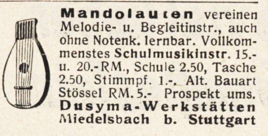 10 x Original-Werbung/ Anzeige 1890 bis 1931 - MUSIK /  MUSIKINSTRUMENTE AUS STUTTGART - UNTERSCHIEDLICHE GRÖSSEN 9