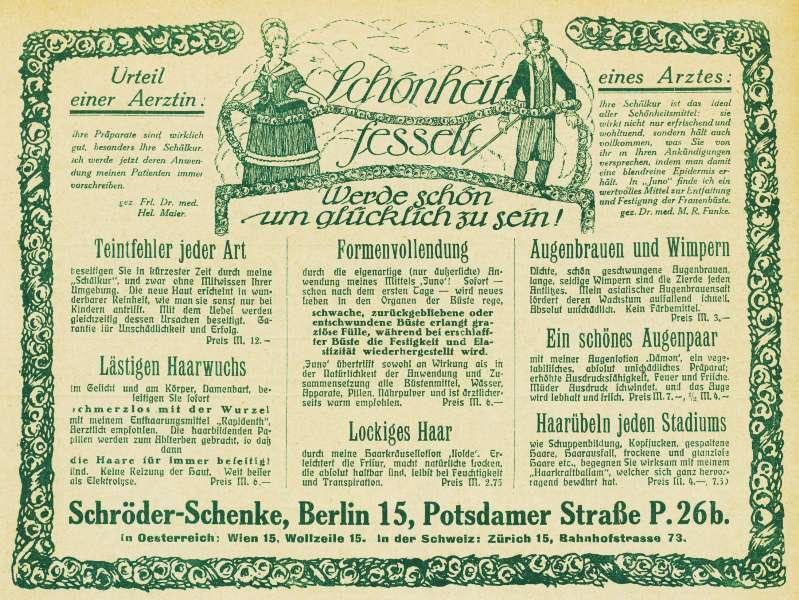 10 x Original-Werbung / Anzeigen 1909-1924 - KOSMETIK SCHRÖDER-SCHENKE - BERLIN - UNTERSCHIEDLICHE GRÖSSEN