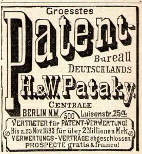 10 x Original-Werbung/ Anzeige 1894 bis 1920 - PATENT-BÜROS - Größe unterschiedlich