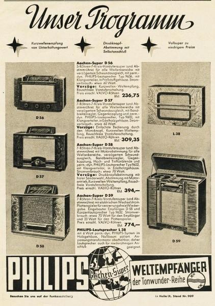 10 x Original-Werbung/ Anzeige 1938 BIS 1966 - PHILIPS / GANZE SEITEN 4