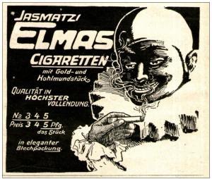 10 x Original-Werbung/ Anzeige 1909 - 1910 - JASMATZI / ELMAS CIGARETTEN je ca. 90 x 85 mm