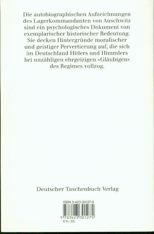 Kommandant in Auschwitz. Autobiographische Aufzeichnungen.