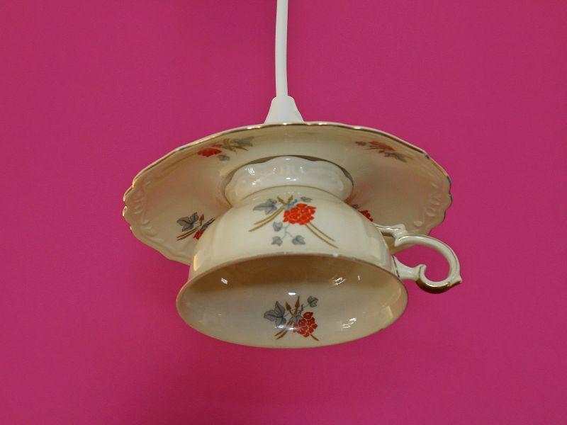 Tassenlampe, Upcycling-Lampe, Vintage-Hängelampe aus einer Tasse, Unikat, Shabby Chic