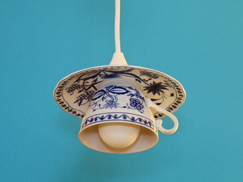 Tassenlampe, Upcycling-Lampe, Vintage-Lampe aus einer Tasse, Unikat, Shabby Chic