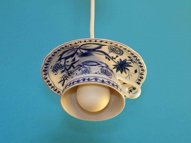 Tassenlampe, Upcycling-Lampe, Vintage-Lampe aus einer Tasse, Unikat, Shabby Chic 1