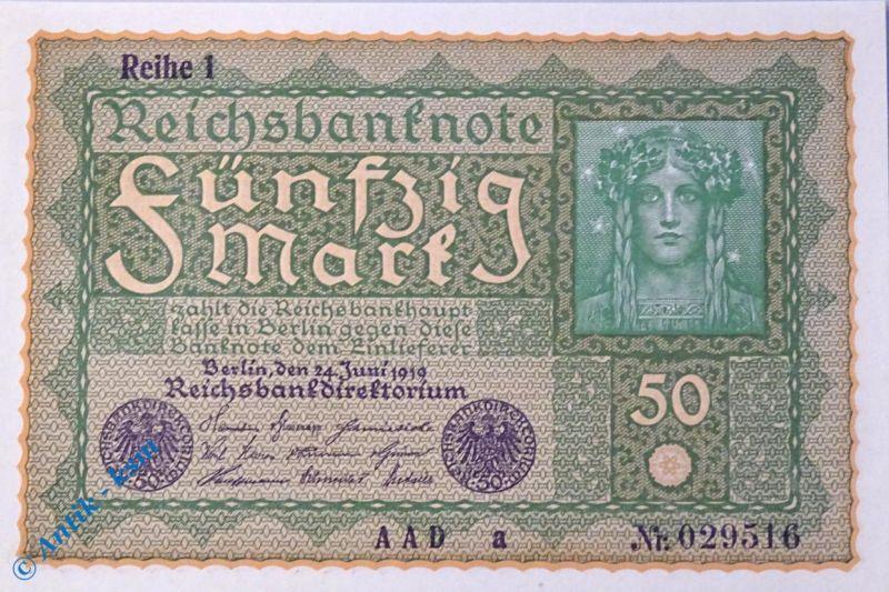 Reichsbanknote 50 Mark, Wiener Provisorium , Rosenberg 62 , Reichsmark , Banknote vom 24.06.1919