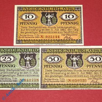 3 x Notgeld Stadt Neidenburg , german emergency money , M/G 932.1 , kfr/unc