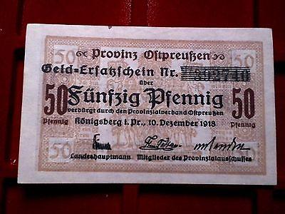 A Notgeld Provinz Ostpreussen : Königsberg ,  50 Pfennig  , Kassenfrisch -selten