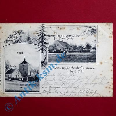 Ansichtskarte Alt-Gersdorf bei Eberswalde , Motiv: Gasthaus vier Linden ,1907 0