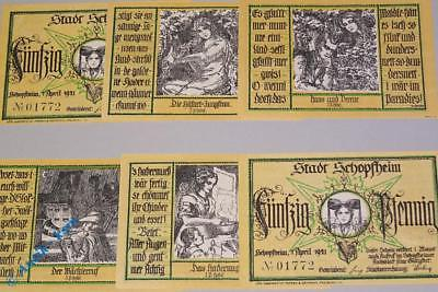 6 x Notgeld Schopfheim , Hebel Serie , german emergency money M/G 1201.2 , kfr