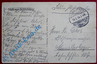 A Postkarte Ansichtskarte Schlichting, Bäckerei, Kolonialwaren, Schule gel.1914 1