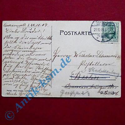 A  Postkarte Ansichtskarte Luckenwalde, Motiv: Die Post, gelaufen 1909 1