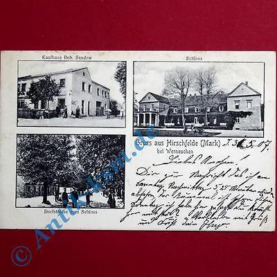A Ansichtskarte Hirschfelde Mark , Motiv Schloss, Kaufhaus Sandow  1907 gelaufen 0