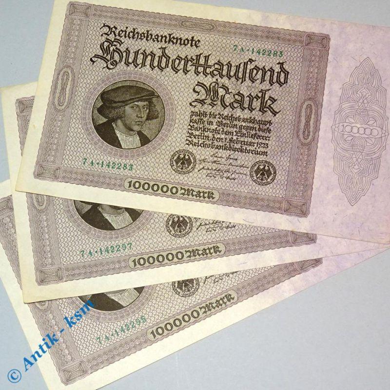1 x 100.000 Mark , Reichsmark Schein , Ros 82 d  , Banknote vom 01.02.1923  kfr