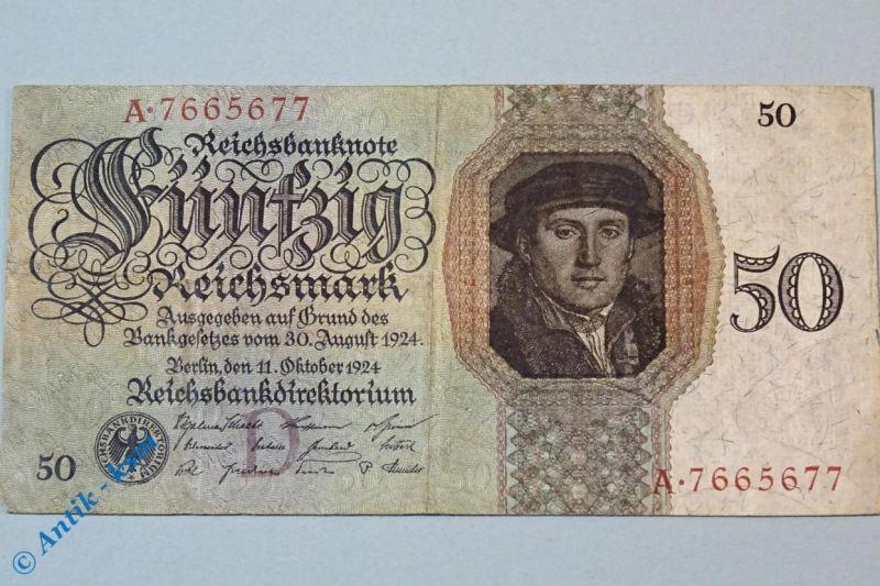 Reichsmark Reichsbanknote über 50 Mark , D/A , Ros. 170 a , Holbein , von 1924