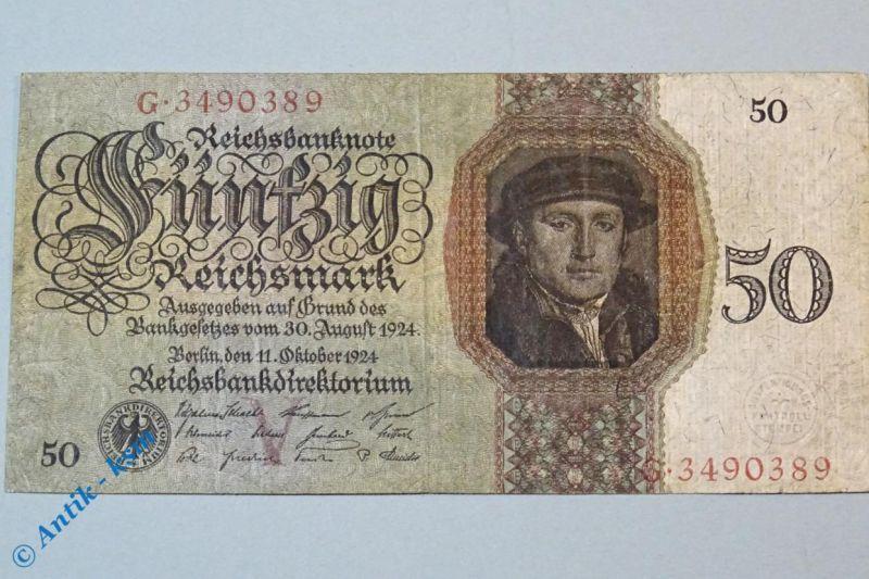 Reichsmark Reichsbanknote über 50 Mark , V/G , Ros. 170 a , Holbein , von 1924