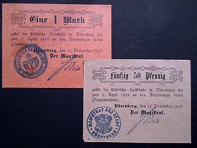 2 x Notgeld NÖRENBERG : Platzanweisung 50 Pf + 1 Mark,von 1918 Papier + Karton.