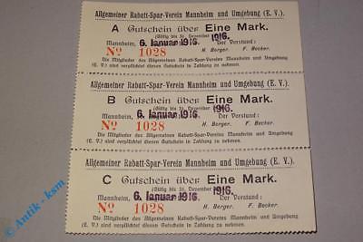 3-er Schein Rabattsparverein Mannheim , von 1916 , 3 x 1 Mark Tieste 4360.05.01