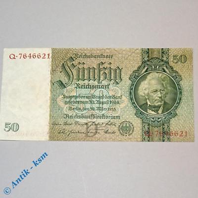 Reichsbanknote über 50 Mark , D / Q , Rosenberg 175 a , Reichsmark 1933 , kfr