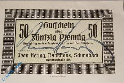 Notgeld Schwabach , Bankhaus , 50 Pfennig Schein , Tieste 6715.05.05 , kfr / unc