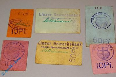 6 x Notgeld Gewerbebank Linz , Rheinland , 3 x 10 Pfennig , 3 x 50 Pfennig