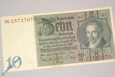 Reichsbanknote über 10 Mark E/M , Rosenberg 173 B , Thaer , Banknote von 1929