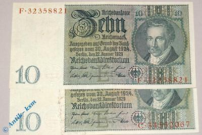 1 x Reichsbanknote über 10 Mark E/C oder E/F , Rosenberg 173 A , Thaer , 1929