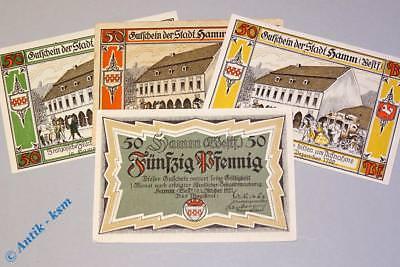 Notgeld Hamm , 4 x 50 Pfennig , Mehl Grabowski 568.4 , von 1921 ,  kfr/unc