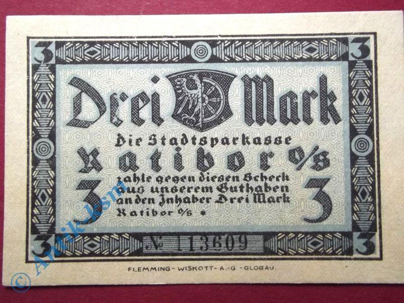 Notgeld Ratibor , 3 Mark Schein blanko , Mehl Grabowski 1100.1 C , Schlesien Ser