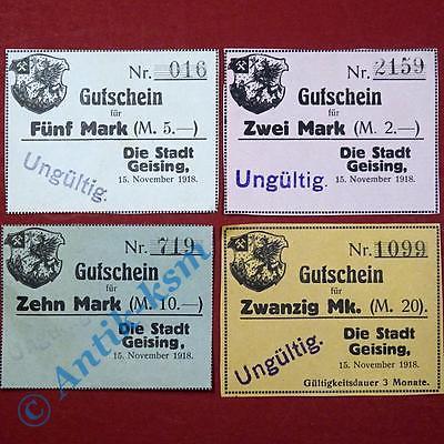 4 x Grossnotgeld Geising  , german emergency money , Geiger 169 ,  kfr./unc