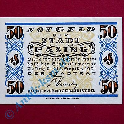 Notgeld Pasing , 50 Pfennig Schein , Mehl Grabowski 1050.3 A , Bayern kfr./unc
